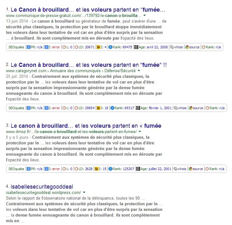 Preuve Google que le site Securitegoodeal duplique ses textes sur plein de sites différents